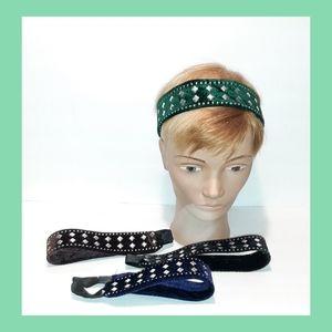4 Velvet Silver Stud Rhinestone Headbands